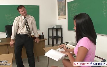 Naughty student Danica Dillan gives her head and gets fucked on teacher table