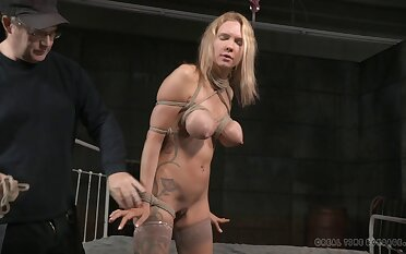 Blonde pornstar Rain DeGrey tied involving and mouth fucked by a black dude