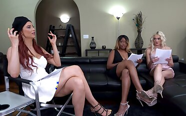 Interracial lesbian triumvirate with seductive pornstar Nina Rivera
