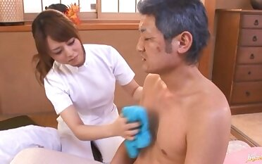 Lucky man gets his dick stroked and sucked apart from sexy Akiho Yoshizawa