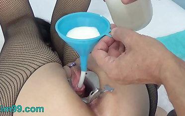 Extreme Female Peehole Fucking with Dildo