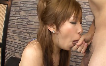 Asian wife sucks cock in sloppy modes then swallows