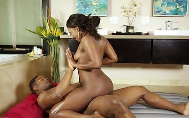 Thick ebony enjoys tasty dick during massage