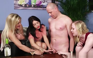 Cfnm Femdoms Tugging Their Sub In Group