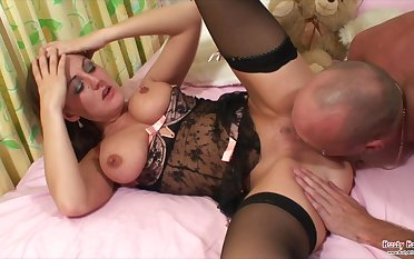 Sexy busty British slut Alexis Summer gets her pussy pounded and big tits jizzled