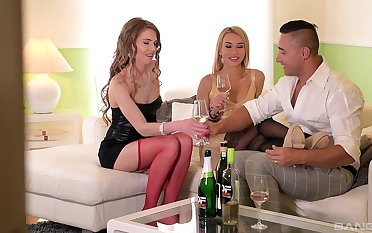 Tequila Girl licks cum off Melissa Benz's paws in all directions stockings