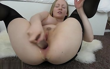British slut playing with their way arsehole and talking dirty