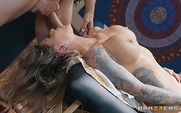 Kismet RX gets her shaved pussy desroyed hard by her horny masseur