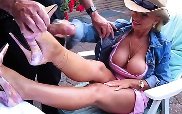 Busty Blonde Round The Backyard Strokes A Flannel