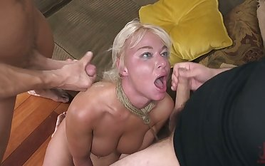 Red faced big racked London River deserves DP and brutal mouthfuck