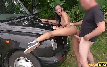 Petite nubian cutie in glasses Kira Noir gets pounded outdoor