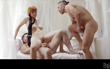 Redhead gets shared by team a few men and jizzed on her big tits