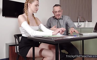 Old teacher is shafting pretty hot student Ivi Rein together with cums on will not hear of tushy