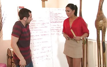 Hot brunette teacher fucks her naughty student alongside hardcore action