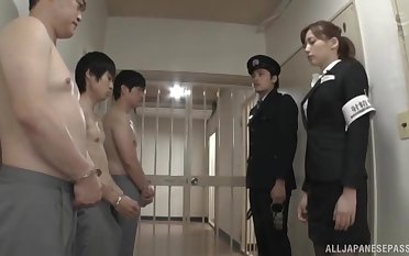 Undisguised Japanese guys enjoys getting a blowjob by sexy Aine Maria