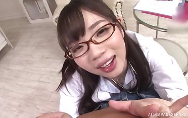 Japanese schoogirl kneels be expeditious for step daddy before going to school