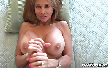 Mature blond housewife with phat milk globes is frolicking with her paramour's shake up rigid manstick