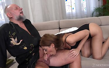 Bearded older man is treated with a nice blowjob at the end of one's tether lovely Sarah Cute