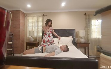 Hidden camera intercourse footage featuring milf Vera King going to bed stepson