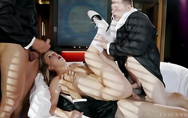 Three men ravish a babe's tight holes in obscene XXX